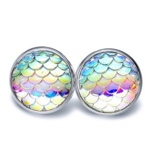 Iridescent Mermaid Button Stud Earrings
